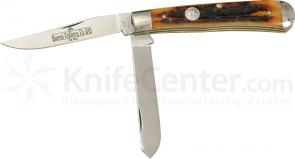Queen Trapper w/2 Blades & Aged Honey Amber Stag Bone Handle 4-1/8 inch