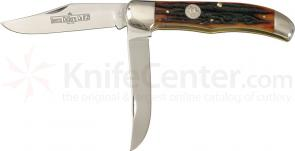 Queen Folding Hunter w/2 Blades & Aged Honey Amber Stag Bone Handle