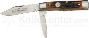Queen Gunstock w/2 Blades & Aged Honey Amber Stag Bone Handle 3-1/2 inch