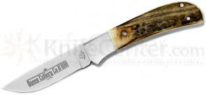 Queen 4180 Drop Point Hunter Fixed 3.75 inch D2 Blade, Stag Handles, Leather Sheath
