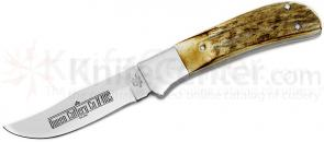 Queen 4185M Sabre Hunter Fixed 3.75 inch D2 Blade, Stag Handles, Leather Sheath