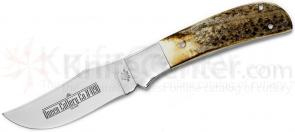 Queen Premium Skinner Hunter 3.75 inch D2 Mirror Polished Blade, Stag Handles, Leather Sheath