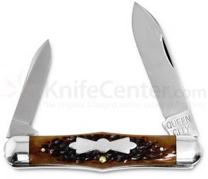Queen City #376 Swell Center Jack w/2 Blades 3-7/8 inch Closed, Aged Honey Amber Stag Bone Handle