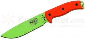 ESEE Knives ESEE-6P-VG Plain Edge, Black Sheath, Venom Green Blade, Orange G10 Handles, Clip Plate
