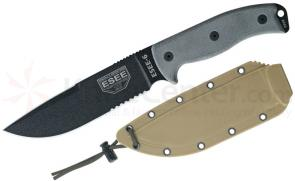 ESEE Knives ESEE-6S-CP Combo Edge, Sharpened Clip Point, Coyote Brown Sheath, Paracord