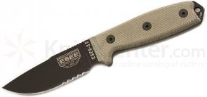 ESEE Knives ESEE-3MIL-S-CP Sharpened Clip Point Combo Edge, OD Sheath, MOLLE Back, Clip Plate, Paracord