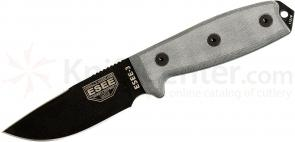 ESEE Knives ESEE-3P-CP-MB Sharpened Clip Point Plain Edge, Coyote Brown Sheath, MOLLE Back, Boot Clip