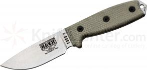 ESEE Knives ESEE-3P-UC-MB Plain Edge Uncoated Blade, Coyote Brown MOLLE Sheath