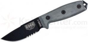 ESEE Knives ESEE-3, 3-3/8 inch Clip Point Combo Blade, Sharpened Back Edge, Coyote Brown MOLLE Sheath