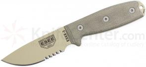 ESEE Knives ESEE-3SM-DT Desert Tan Combo Edge, Rounded Pommel, FG Sheath, Clip Plate, Paracord