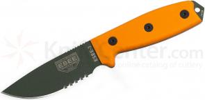ESEE Knives ESEE-3S-MB-OD OD Green Combo Edge, Orange G10 Handles, Black Sheath, MOLLE Back, Boot Clip