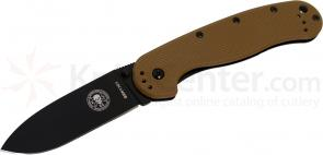 Avispa Folding Knife 3.5 inch Black AUS-8 Blade, Coyote FRN and Stainless Steel Handles, Designed by ESEE