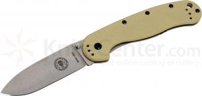 Avispa Folding Knife 3.5 inch Stonewashed AUS-8 Blade, Desert Tan FRN and Stainless Steel Handles, Designed by ESEE