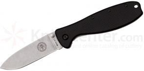 Zancudo Folding Knife 3 inch Stonewashed Blade, Black FRN and Stainless Steel Handles, Designed by ESEE