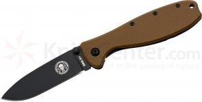 Zancudo Folding Knife 3 inch Black Blade, Coyote FRN and Stainless Steel Handles, Designed by ESEE
