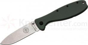 Zancudo Folding Knife 3 inch Stonewashed Blade, Olive Drab FRN and Stainless Steel Handles, Designed by ESEE