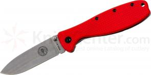 Zancudo Folding Knife 3 inch Stonewashed Blade, Red FRN and Stainless Steel Handles, Designed by ESEE