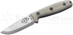ESEE Knives Camp-Lore Reuben Bolieu RB3 Fixed 3.5 inch Uncoated Scandi Ground Blade, Micarta Handle, Leather Sheath