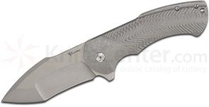 Reate Knives Rick Barrett Fallout 2.0 Flipper 3.6 inch CTS-204P Stonewashed Blade, Milled Titanium Handles