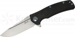 Reate Knives Horizon-D Folding 3.75 inch M390 Stonewashed Plain Blade, Milled Carbon Fiber and Titanium Handles