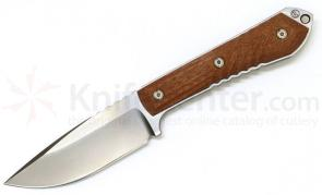 Chris Reeve Nyala Classic Skinner Fixed 3.75 inch S35VN Satin Blade, Brown Canvas Micarta Handles, Leather Sheath
