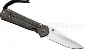 Chris Reeve Left Handed Large Sebenza 21, 3.625 inch S35VN Blade, Titanium w/ Black Canvas Micarta Inlaid