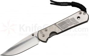 Chris Reeve Small Sebenza 21 Ole Glory Reverse Silver Contrast CGG 2.94 inch S35VN Blade, Titanium Handles