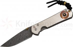 Chris Reeve Small Sebenza 21 Unique Graphic 2.94 inch Raindrop Damascus Blade, Titanium Handles with Black Mother of Pearl Cabochon