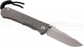 Chris Reeve Left Handed Umnumzaan Folding Knife 3.675 inch S35VN Stonewashed Blade, Milled Titanium Handles