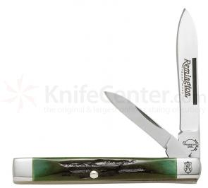 Remington Heritage Green Jigged Bone Mini Doctor Pocket Knife 2-1/4 inch Drop Point with 1-1/2 inch Pen Knife (R-73 Model)