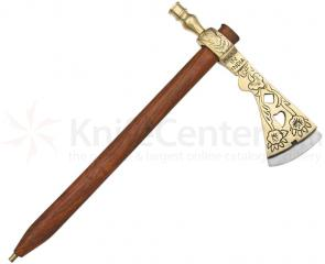 Deluxe Indian Peace Pipe Tomahawk, Brass, 14.5 inch Overall, Functioning Replica