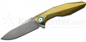 Rike Knife RK1508s Flipper 3.25 inch M390 Stonewashed Drop Point Blade, Gold Integral Titanium Handle