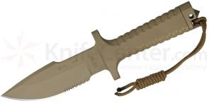 Robson RPW Knives Model X-46 Utility Survival Fixed 5 inch Serrated Blade, One-Piece Design, Tan Finish