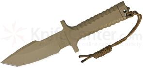 Robson RPW Knives Model X-46 Utility Survival Fixed 5 inch Tanto Blade, One-Piece Design, Tan Finish
