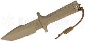Robson RPW Knives Model X-46 Utility Survival Fixed 5 inch Tanto Serrated Blade, One-Piece Design, Tan Finish