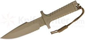 Robson RPW Knives Model X-46 Utility Survival Fixed 6 inch Serrated Blade, One-Piece Design, Tan Finish
