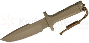 Robson RPW Knives Model X-46 Utility Survival Fixed 6 inch Tanto Blade, One-Piece Design, Tan Finish