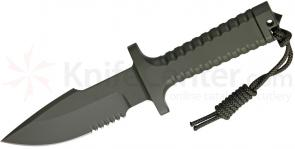 Robson RPW Knives Model X-46 Utility Survival Fixed 5 inch Serrated Blade, One-Piece Design, OD Green Finish