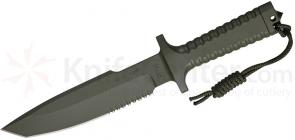 Robson RPW Knives Model X-46 Utility Survival Fixed 7 inch Tanto Serrated Blade, One-Piece Design, OD Green Finish