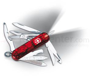 Victorinox Swiss Army Midnite MiniChamp Multi-Tool with LED, Translucent Ruby, 2.28 inch Closed