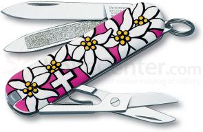 Victorinox Swiss Army Classic SD Multi-Tool, Pink Edelweiss, 2-1/4 inch Closed