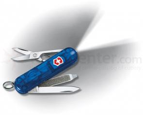 Victorinox Swiss Army Swiss Lite Multi-Tool 2-1/4 inch Translucent Sapphire Handle, White LED Light