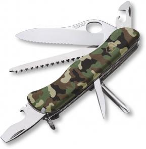 Victorinox Swiss Army 54877 Camouflage One-Hand Trekker, Serrated Blade, 4 3/8 inch Closed