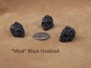 Schmuckatelli Black Oxidized Pewter Mind Skull Bead
