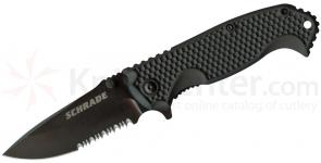 Schrade SCH001S Liner Lock Folding 3.3 inch Drop Point Combo Blade, Zytel Handles