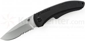 Schrade Large Utility Folding 3.2 inch 9Cr14MoV Combo Blade, Black G10 Handle