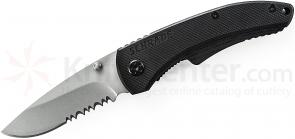 Schrade Small Utility Folding 2.6 inch 9Cr14MoV Combo Blade, Black G10 Handles