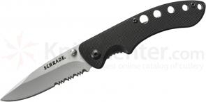 Schrade Small Utility Liner Lock Folding 2.5 inch 9Cr14MoV Combo Blade, Black G10 Handles