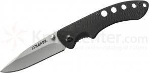 Schrade Small Utility Liner Lock Folding 2.5 inch 9Cr14MoV Plain Blade, Black G10 Handles