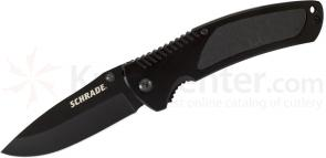 Schrade Large Utility Folding 3.3 inch 9Cr18MoV Plain Black Blade, Aluminum Handles with Rubber Inserts